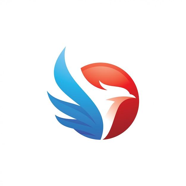 Logo oiseau et aile Vecteur Premium