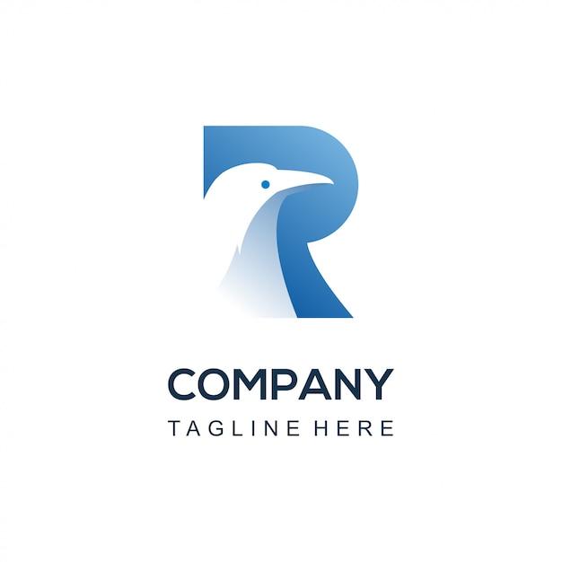 Logo Oiseau Corbeau Vecteur Premium