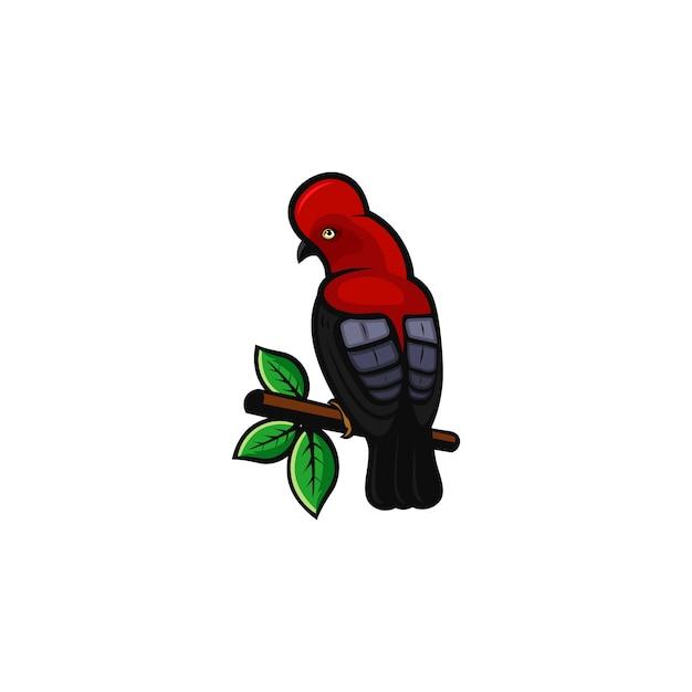Logo oiseau rouge Vecteur Premium