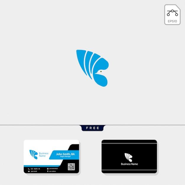 Logo d'oiseau volant et carte de visite gratuite Vecteur Premium