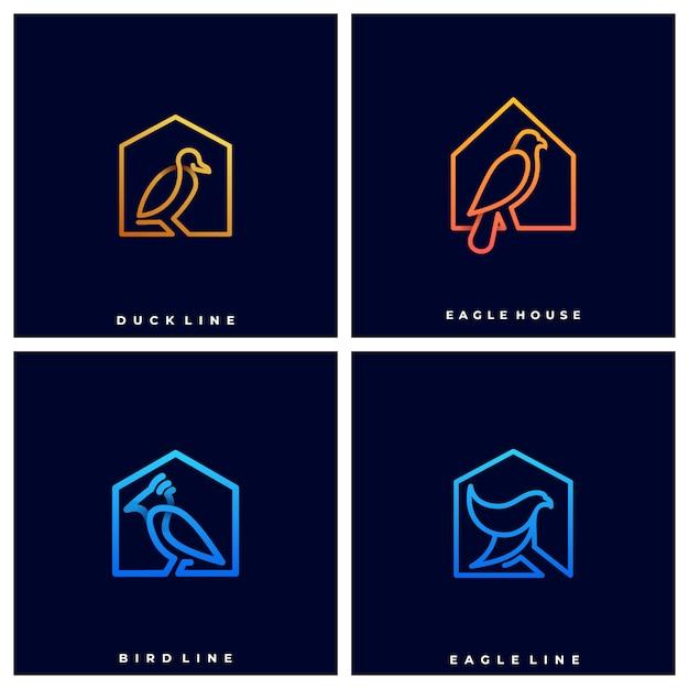 Logo oiseaux sur maisons Vecteur Premium