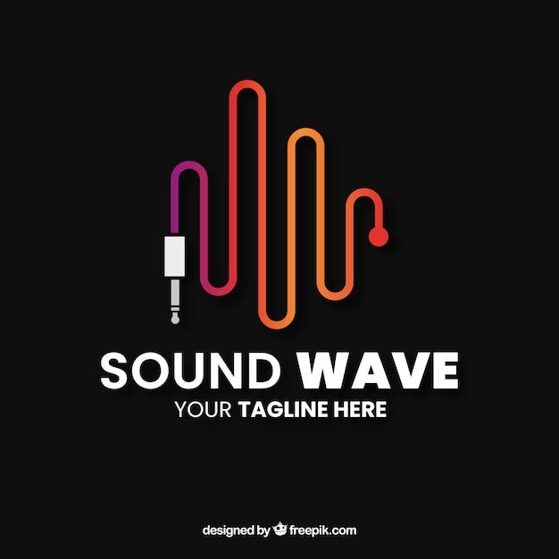 Logo de l'onde sonore avec un design plat Vecteur gratuit