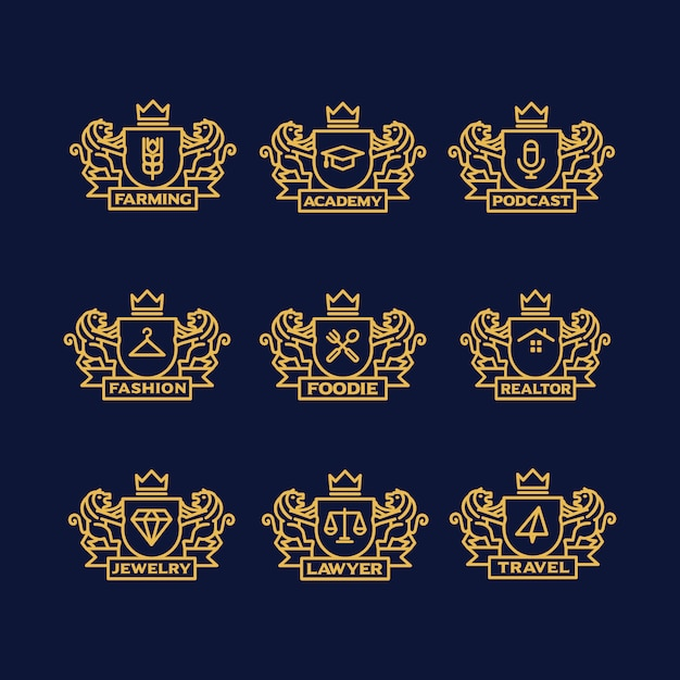 Logo d'or modèles de collection Vecteur gratuit