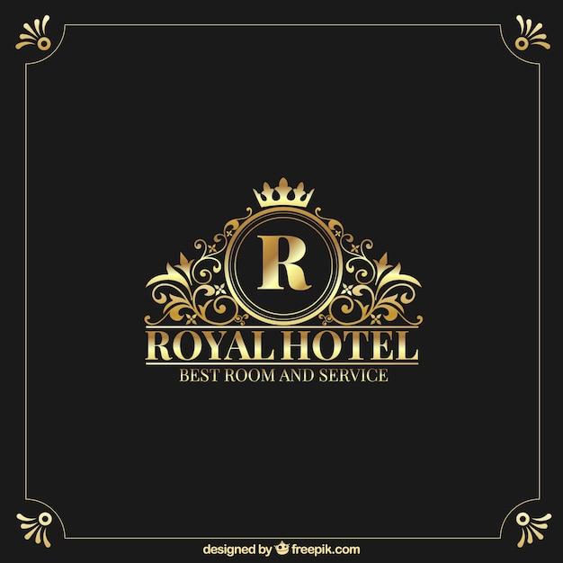 Logo d'or avec style vintage et luxe Vecteur gratuit