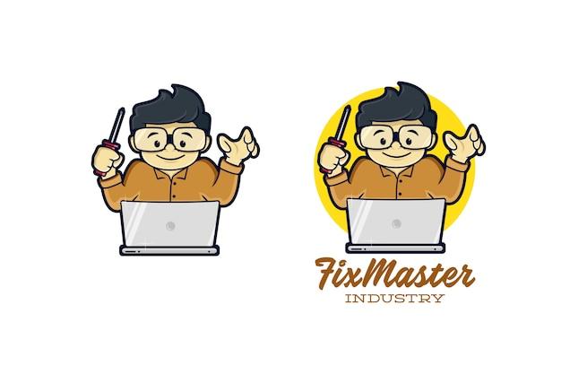 Logo De L'ordinateur Maître Vecteur Premium