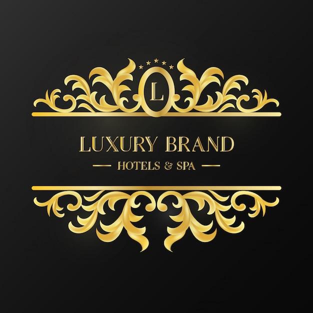 Logo ornement doré vintage de marque de luxe Vecteur gratuit