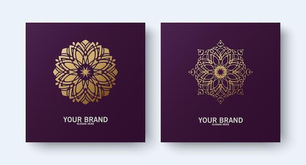 Logo D'ornement De Ligne De Mandala De Collection Vecteur Premium