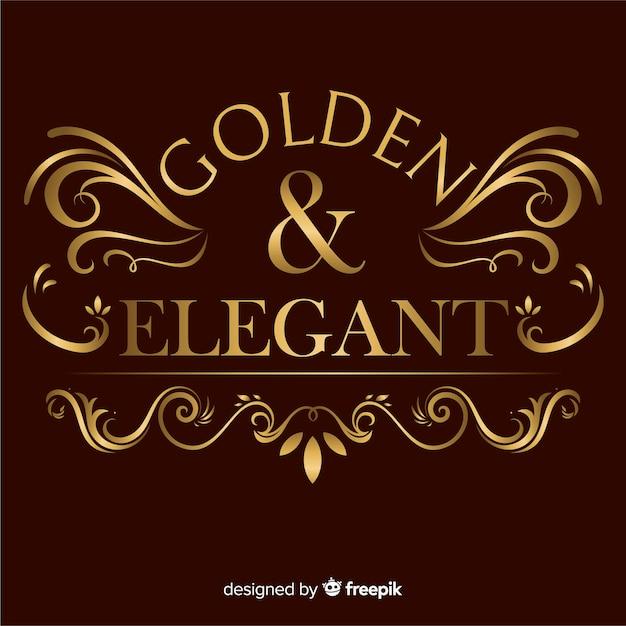 Logo ornemental doré élégant Vecteur gratuit