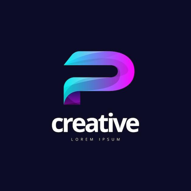 Logo P Coloré Créatif à La Mode Coloré Vibrant Vecteur Premium