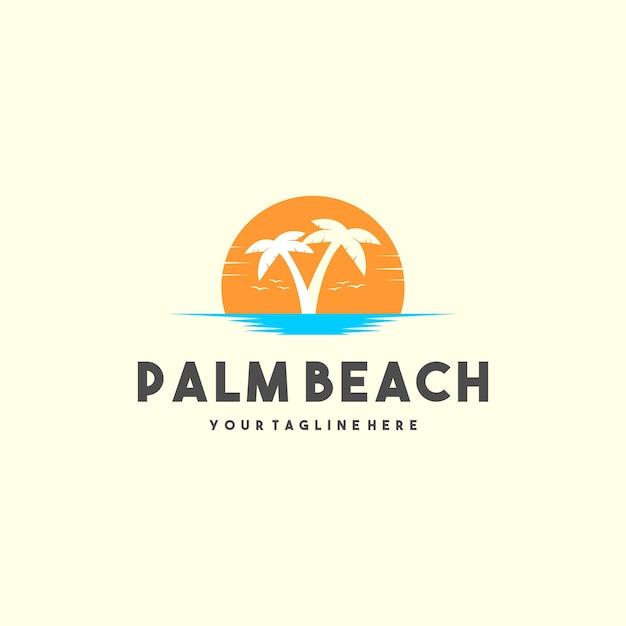 Logo De Palm Beach Créatif Vecteur Premium