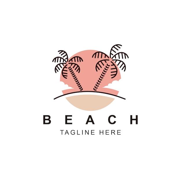Logo palm beach Vecteur Premium