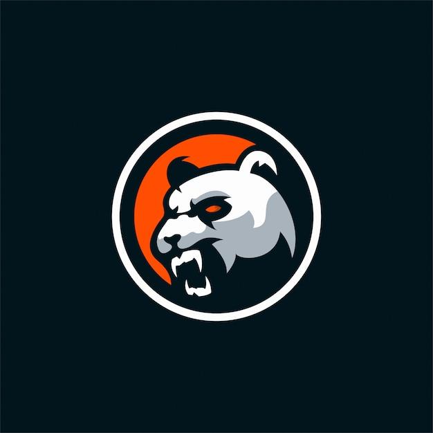 Logo de panda en colère Vecteur Premium