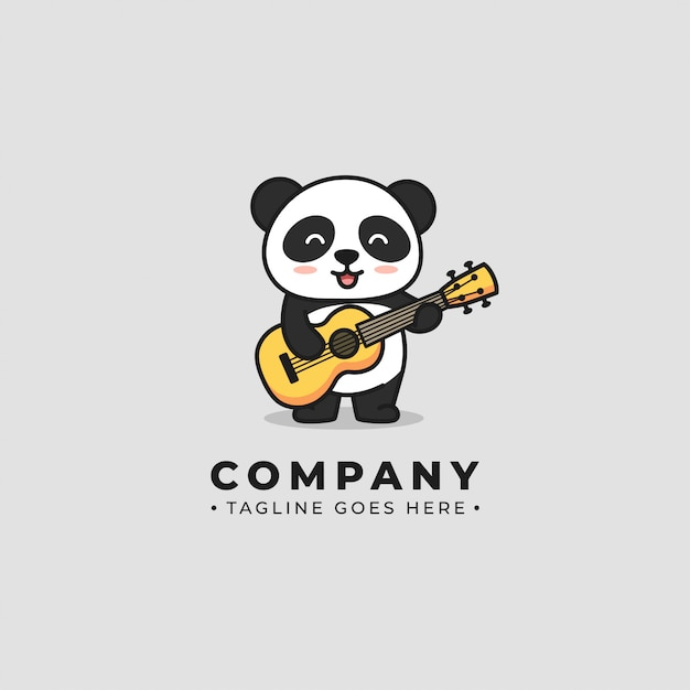 Logo Panda Play Gitar Vecteur Premium