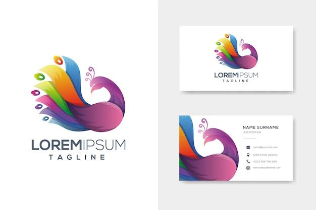 Logo de paon abstrait coloré avec carte de visite Vecteur Premium