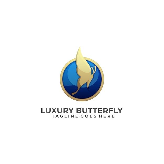 Logo papillon luxe Vecteur Premium