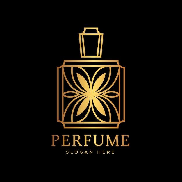 Logo De Parfum Design Luxe Et Doré Vecteur gratuit