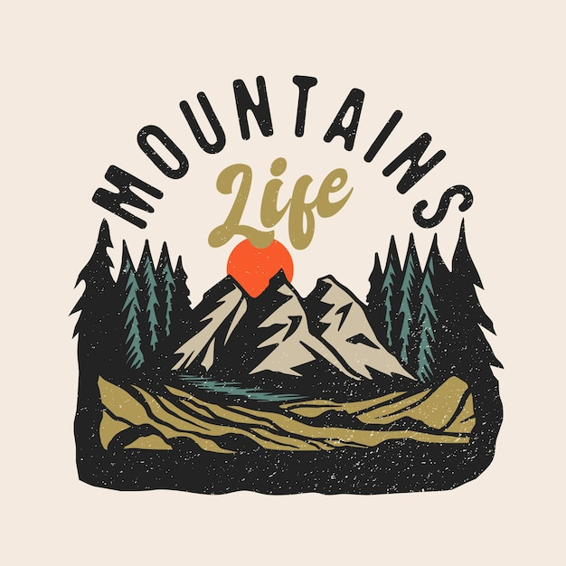 Logo Patch Aventure Montagne Vie Vecteur Premium