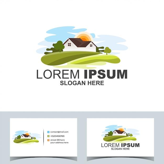 Logo de paysage de village vert moderne Vecteur Premium