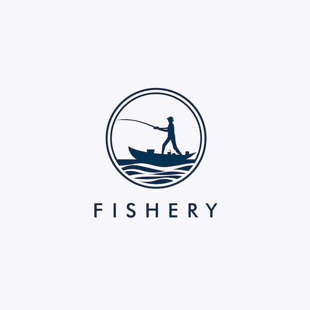 Logo de la pêche avec la silhouette du pêcheur Vecteur Premium