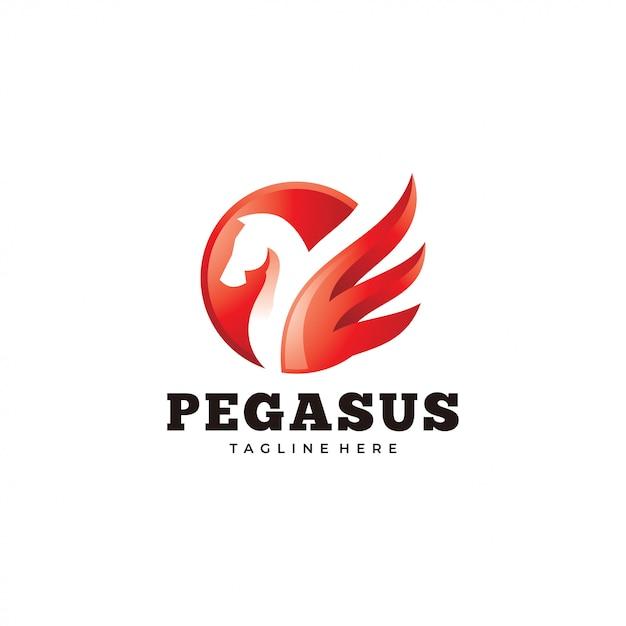 Logo pegasus moderne, icône de cheval et d'aile Vecteur Premium