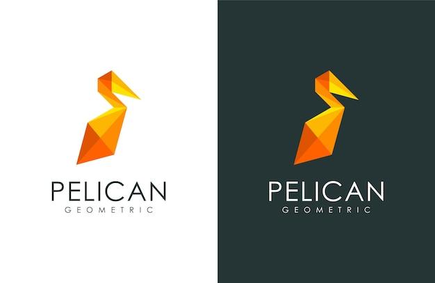 Logo de pélicans, illustration animale avec un style géométrique moderne Vecteur Premium