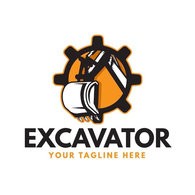 Logo De Pelle Et De Construction Avec Engrenage Vecteur gratuit