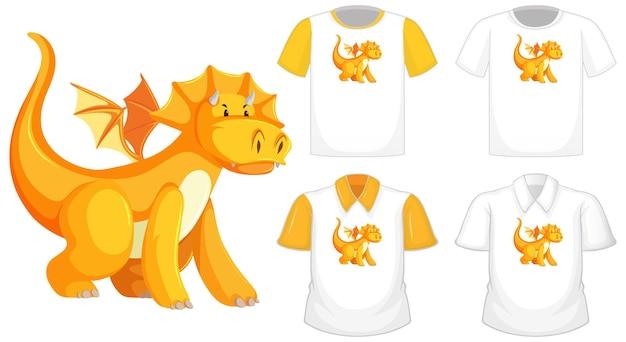 Logo De Personnage De Dessin Animé Dragon Sur Une Chemise Blanche Différente à Manches Courtes Jaune Isolé Sur Fond Blanc Vecteur gratuit