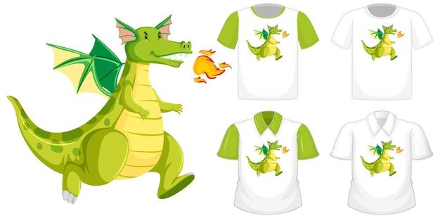 Logo De Personnage De Dessin Animé De Dragon Sur Une Chemise Blanche Différente à Manches Courtes Vertes Isolé Sur Fond Blanc Vecteur gratuit