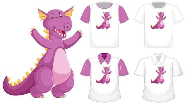 Logo De Personnage De Dessin Animé De Dragon Sur Une Chemise Blanche Différente à Manches Courtes Violet Isolé Vecteur gratuit