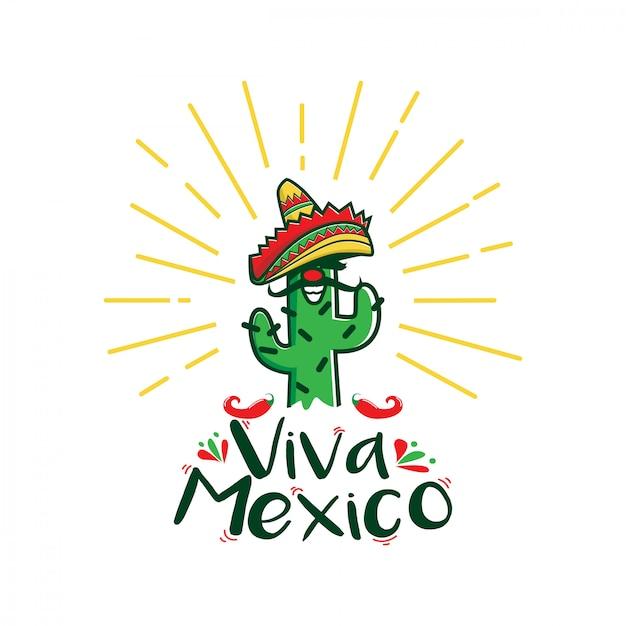 Logo de personnage de dessin animé viva mexico Vecteur Premium