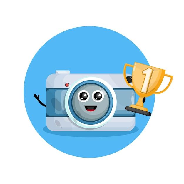 Logo De Personnage De Mascotte Caméra Trophée Champion Vecteur Premium