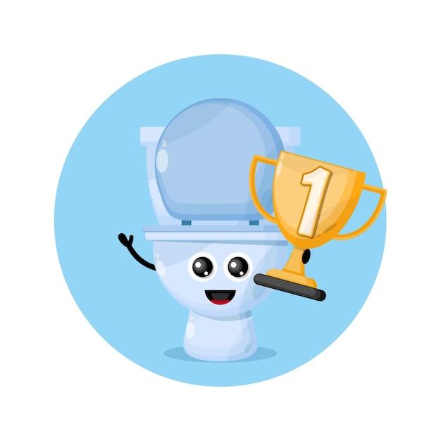 Logo De Personnage De Mascotte De Coupe Des Champions De Toilettes Vecteur Premium