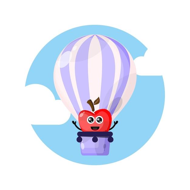 Logo De Personnage De Mascotte Pomme Ballon à Air Chaud Vecteur Premium