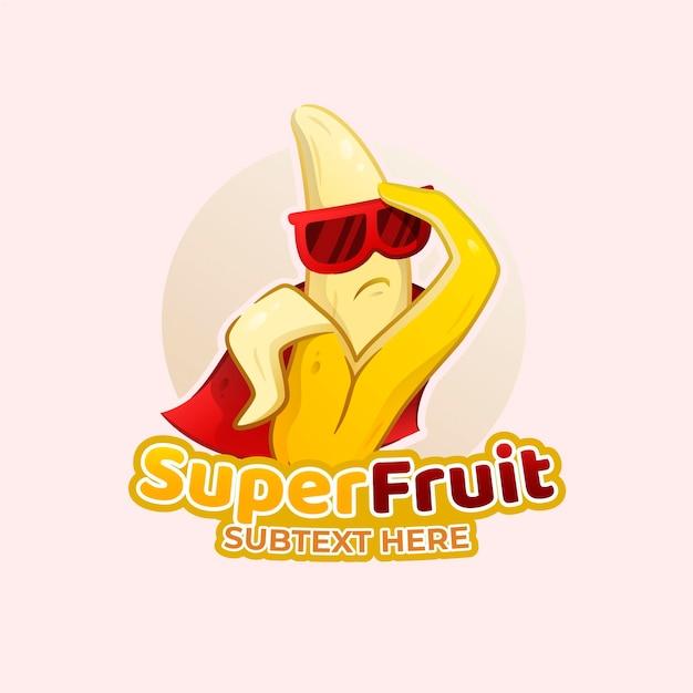 Logo De Personnage De Super-héros Banane Vecteur Premium