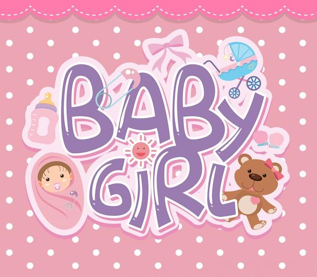 Un logo de petite fille Vecteur Premium