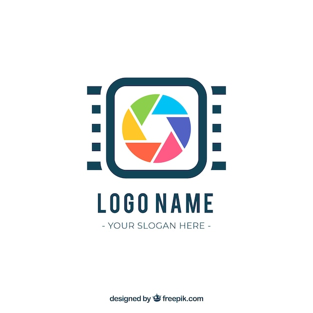 Logo De Photographie De Diaphragme Dans Le Style Plat Vecteur gratuit