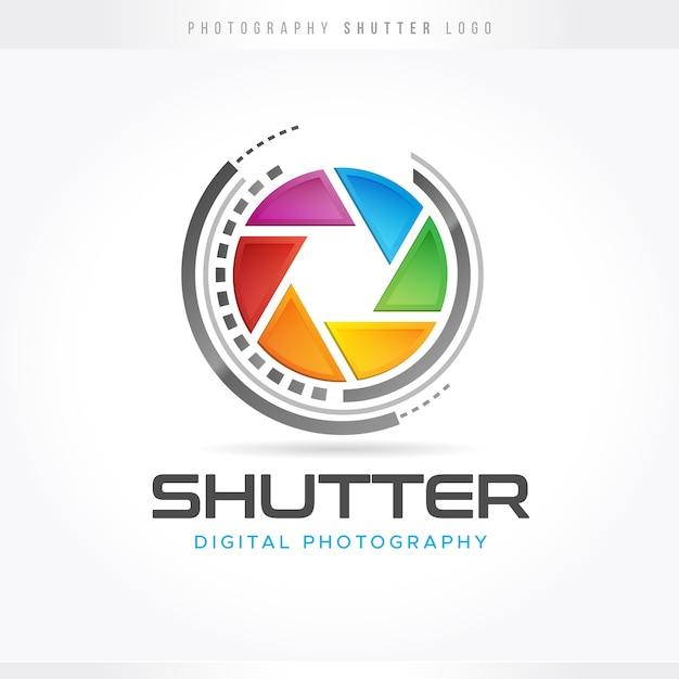 Logo de photographie d'obturation Vecteur Premium