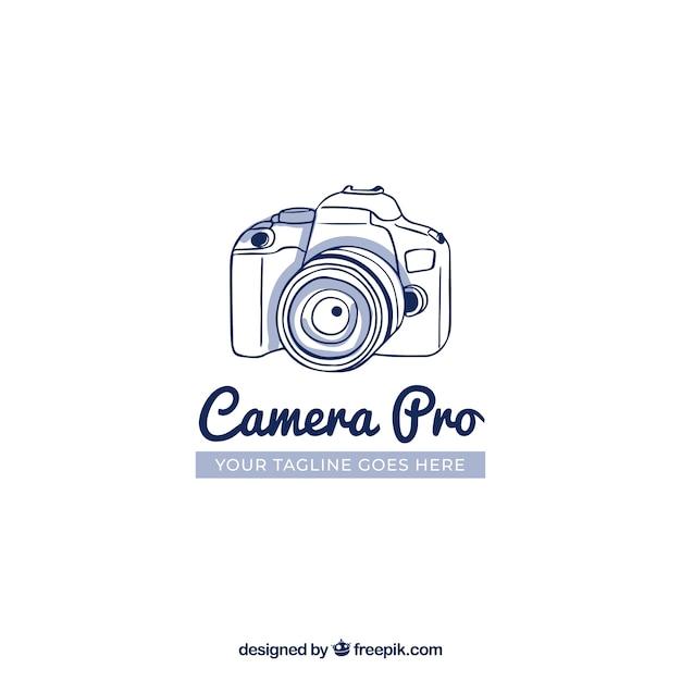 Logo de photographie avec vue de côté Vecteur gratuit