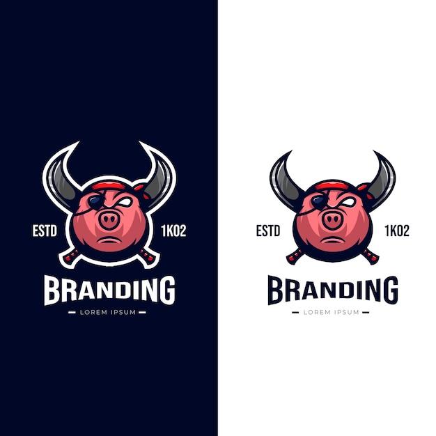 Logo De Pirate Cochon Vecteur Premium