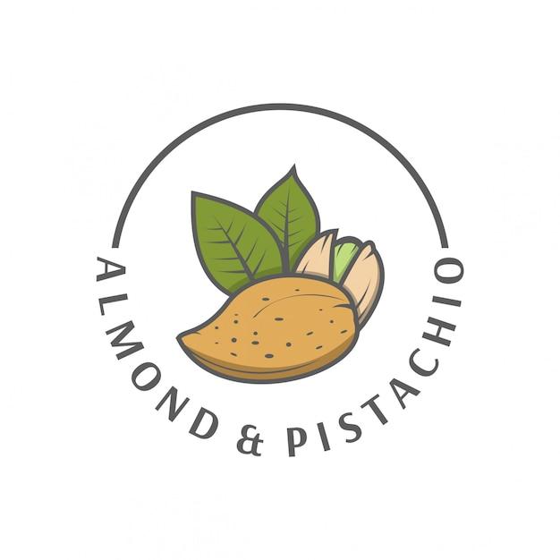 Logo pistache aux amandes Vecteur Premium