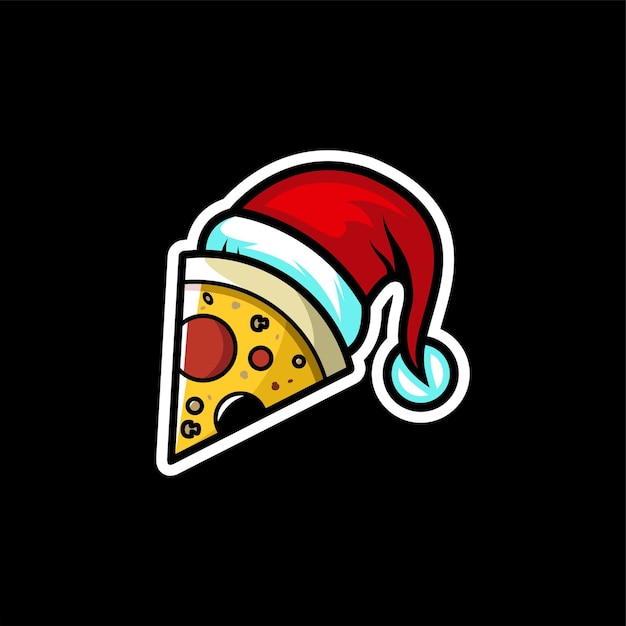 Logo De Pizza De Noël Vecteur Premium