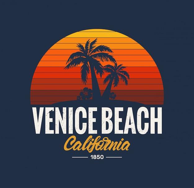 Logo De Plage De Californie à Venise Vecteur Premium