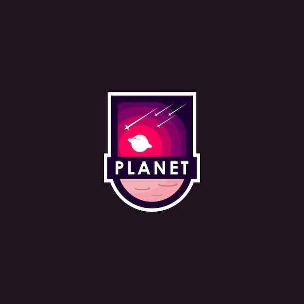 Logo de la planète Vecteur Premium