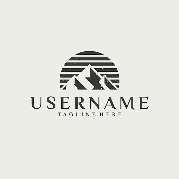 Logo plat de montagne vintage classique Vecteur Premium