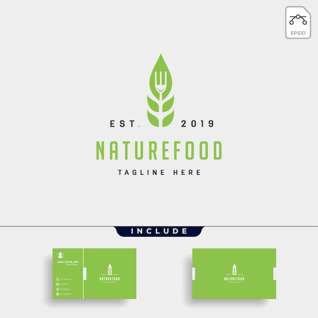 Logo plat simple de nourriture saine nature Vecteur Premium