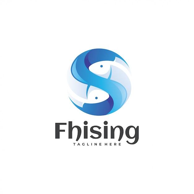 Logo poisson bleu et sphère Vecteur Premium