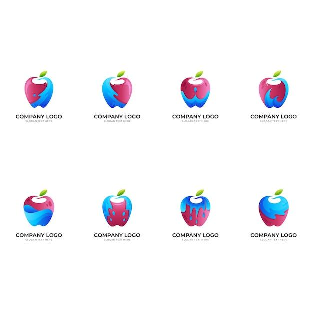 Logo De Pomme Fraîche, Pomme Et Eau, Logo De Combinaison Avec Style Coloré 3d Vecteur Premium