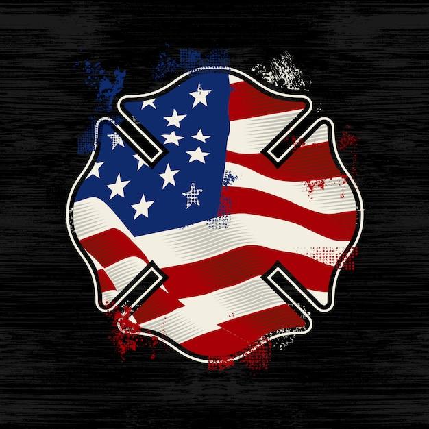 Logo de pompier de silhouette de fond de détresse Vecteur Premium