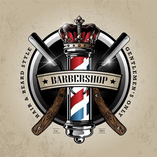 Logo de poteau de coiffeur Vecteur Premium