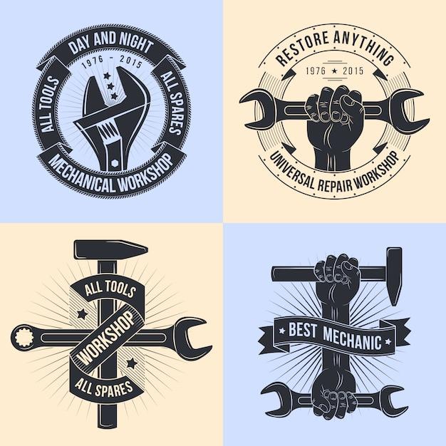 Logo pour atelier de réparation. mécanique des emblèmes. mécanique des outils. Vecteur Premium